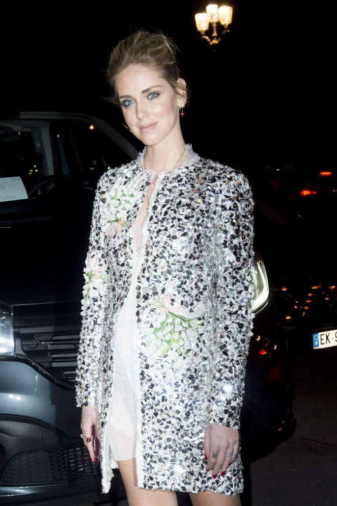 Chiara Ferragni - Arriving at the Giambatista Valli Fashion Show in Paris
