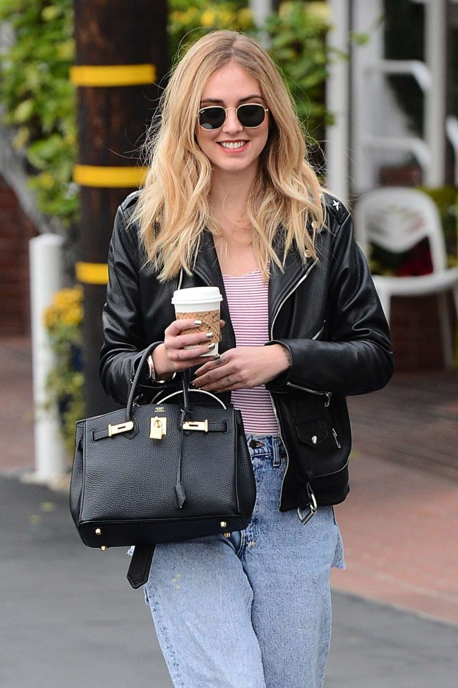 Chiara Ferragni in Jeans Out for coffee in Los Angeles