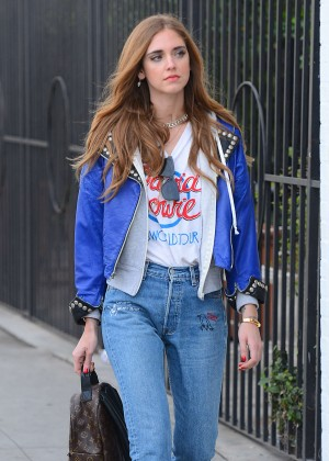 Chiara Ferragni in Jeans Out in Los Angeles
