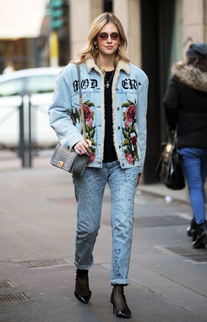 Chiara Ferragni in Jeans out in Milan