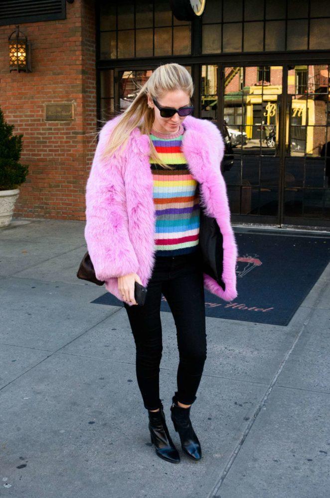 Chiara Ferragni in Pink Fur Coat out in New York