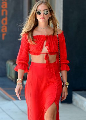 Chiara Ferragni in Red Playsuit in West Hollywood