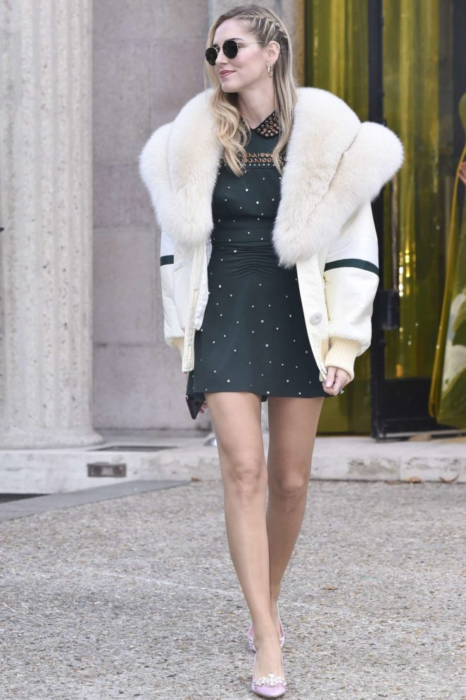 Chiara Ferragni - Leggy at Miu Miu Fashion Show in Paris