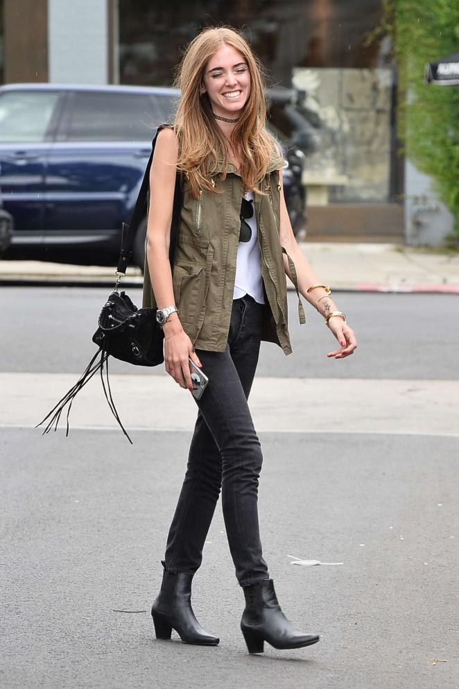 Chiara Ferragni in Jeans Out in Los Angeles