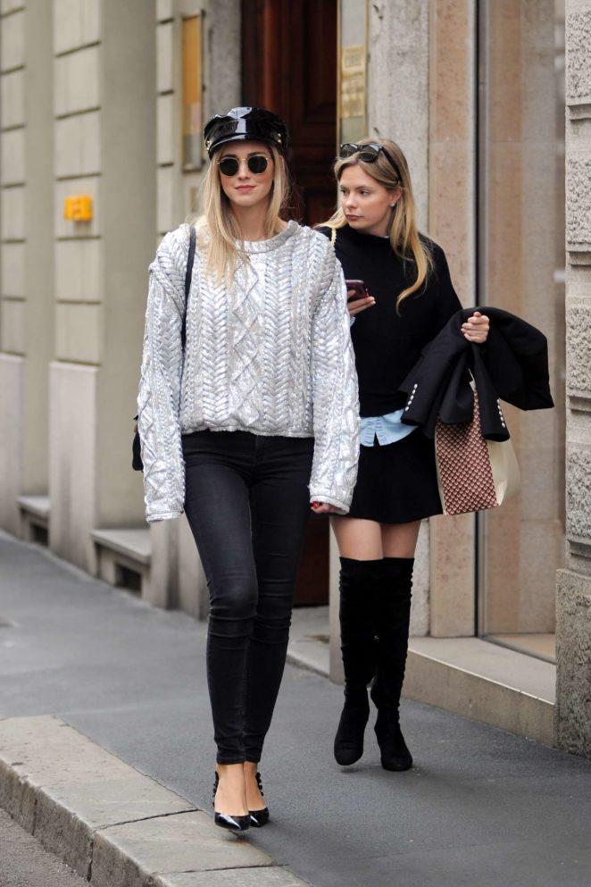 Chiara Ferragni out shopping in Milan