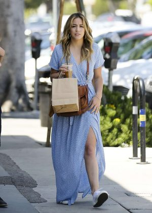 Chloe Bennet in Blue Dress - Shopping in Los Angeles