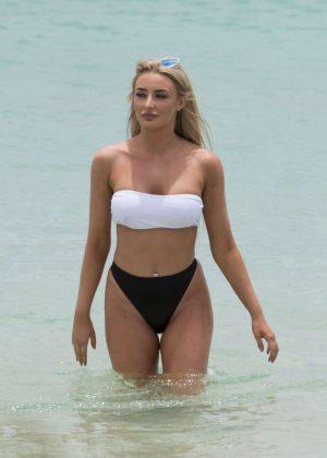 Chloe Crowhurst in Bikini on a beach in Lanzarote