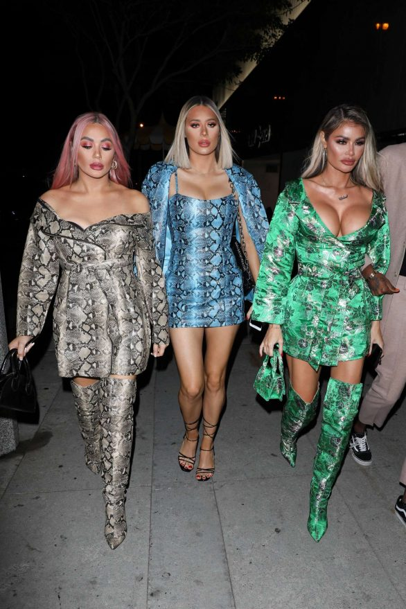Chloe, Demi and Frankie Sims - Arriving at Bootsy Bellows in London