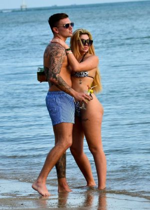 Chloe Ferry in Bikini with boyfriend at the beach in Thailand