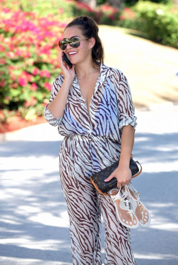 Chloe Goodman - In a zebra print jumpsuit out on holiday in Dubai