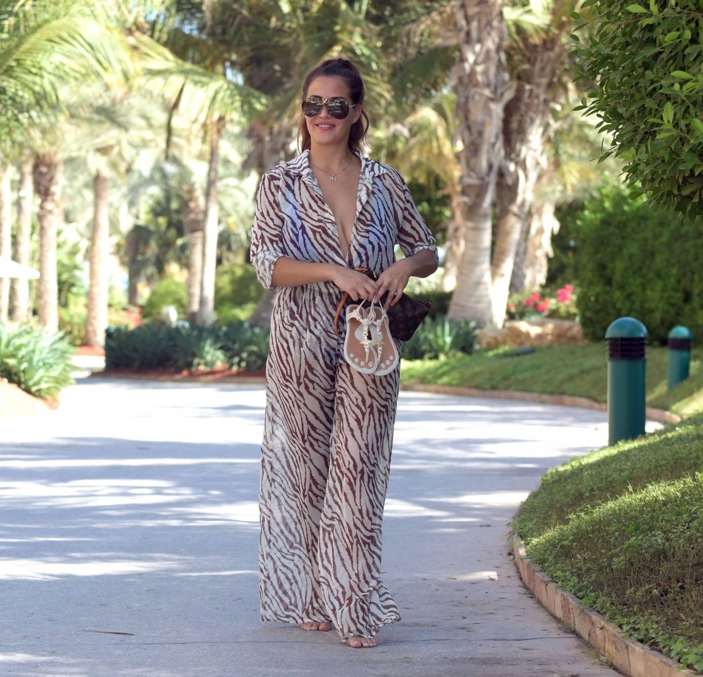 Chloe Goodman 2020 : Chloe Goodman – In a zebra print jumpsuit out on holiday in Dubai-05