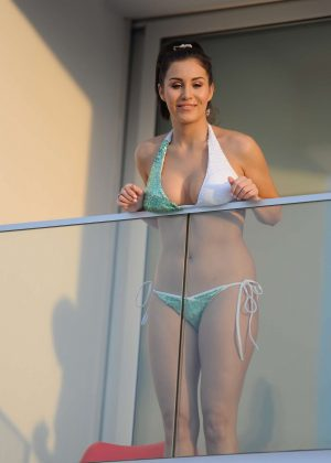 Chloe Goodman in Bikini on a balcony in Tenerife