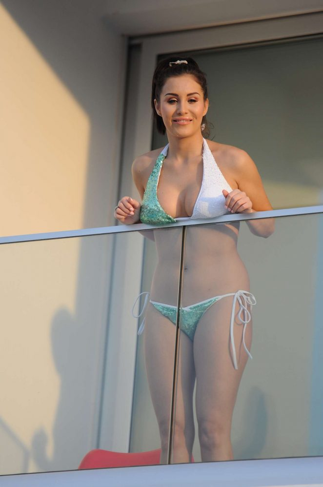 Chloe Goodman in Bikini on a balcony in Tenerife