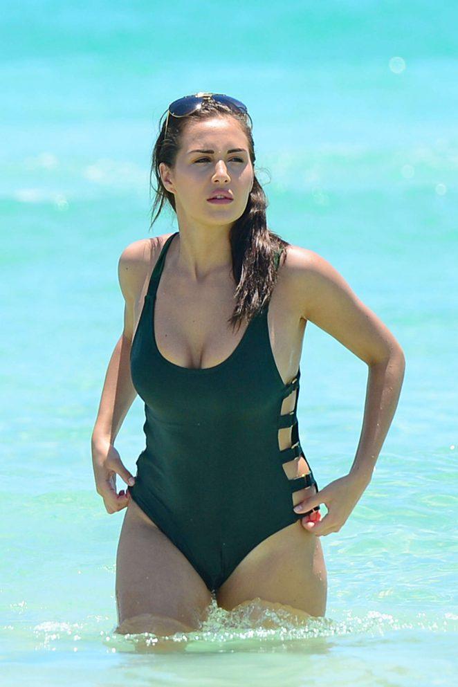 Chloe Goodman in Green Swimsuit in Miami