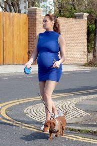 Chloe Goodman in Mini Dress - Walking her dog outside her home in Hove