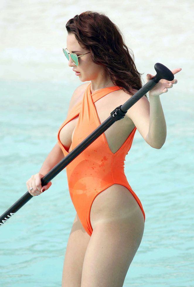 Chloe Goodman in Orenhe Swimsuit Paddleboarding in Maldives
