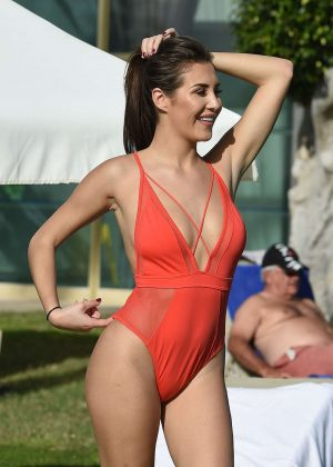 Chloe Goodman in Red Swimsuit on a holiday in Malta