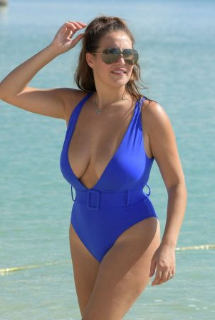 Chloe Goodman - Spotted in blue swimsuit at beach in Dubai