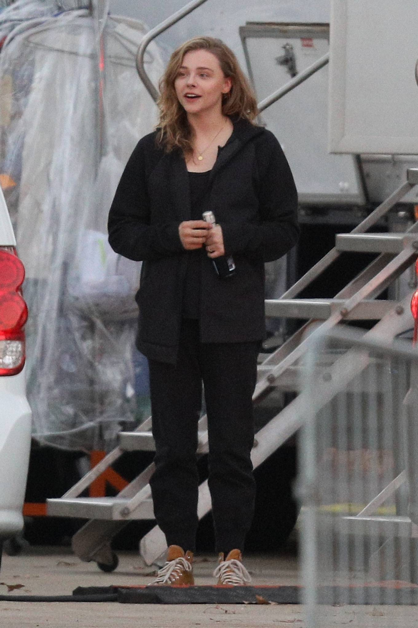 Chloe Grace Moretz - Filming Sci-Fi film Mother-Android in Boston