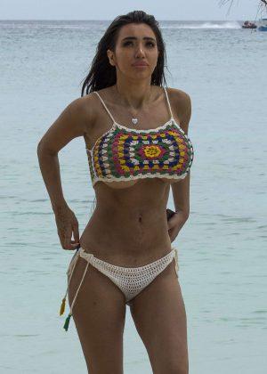 Chloe Khan in Bikini on the Beach in Barbados
