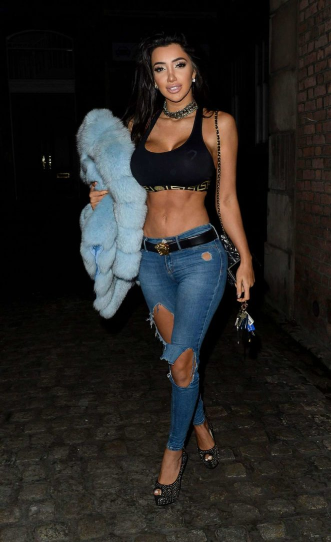 Chloe Khan in Ripped Jeans - Night Out in Liverpool