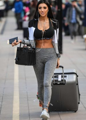 Chloe Khan in Tights at Airport in Manchester