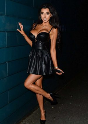 Chloe Khan - In tiny leather dress in Liverpool