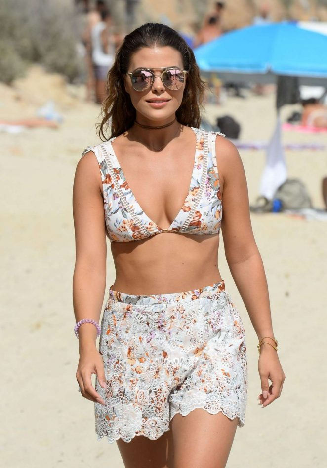 Chloe Lewis in Bikini Top Filming 'The Only Way is Essex' on Magaluf Beach