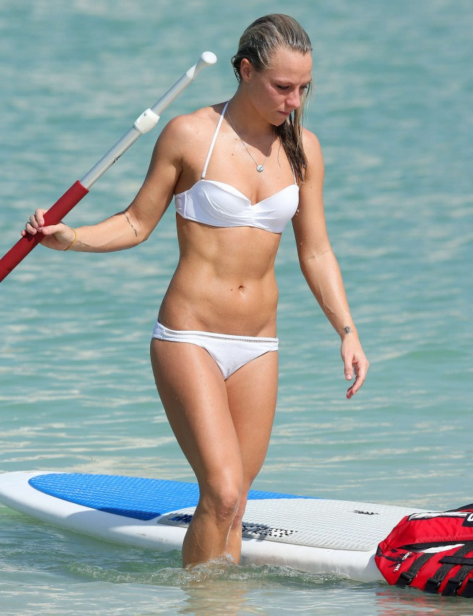 Chloe Madeley in White Bikini Paddleboarding in Dubai