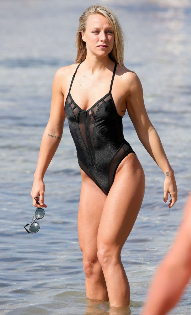 Chloe Madeley in Black Swimsuit in Ibiza