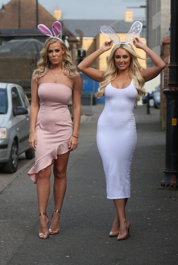 Chloe Meadows and Amber Turner -Film their Easter party in Brentwood