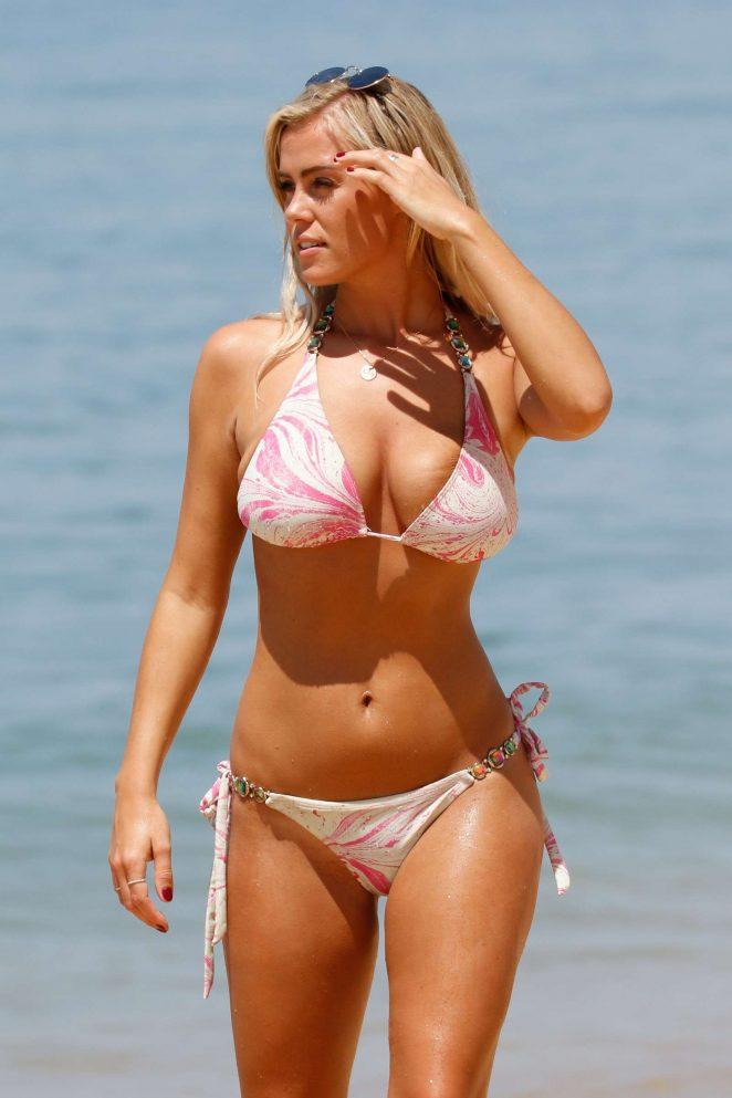 Chloe Meadows in Pink Bikini on a beach in Portugal