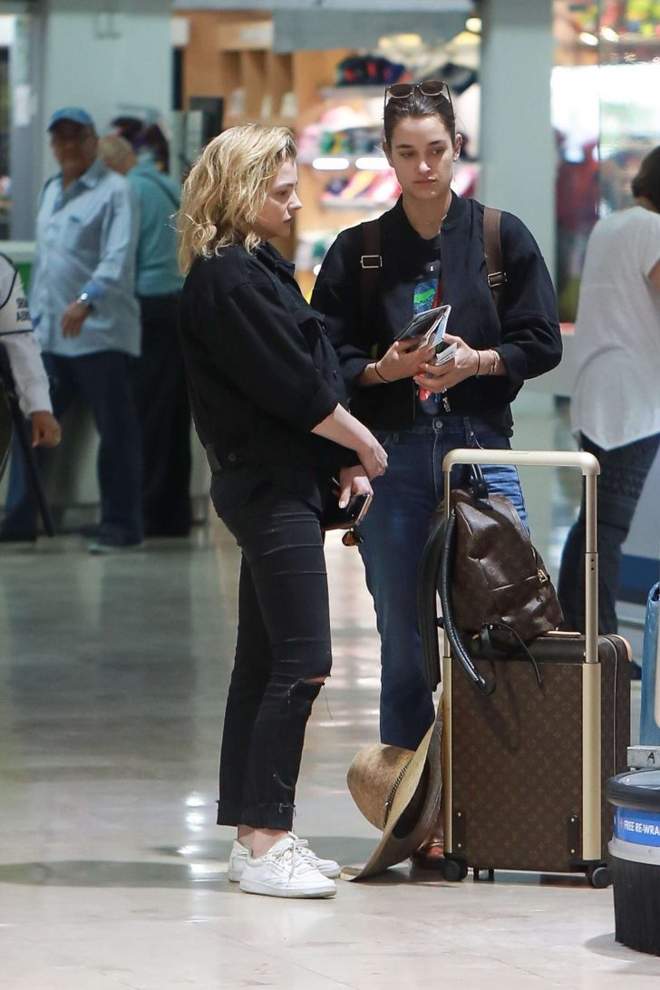Chloe Moretz and Kate Harrison at an airport in Puerto Vallarta