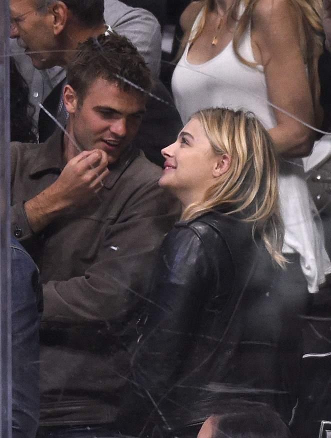 Chloe Moretz at Sharks vs Kings playoff game in Los Angeles