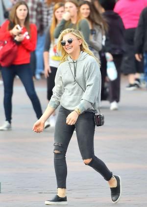 Chloe Moretz in Jeans at Disneyland in Anaheim