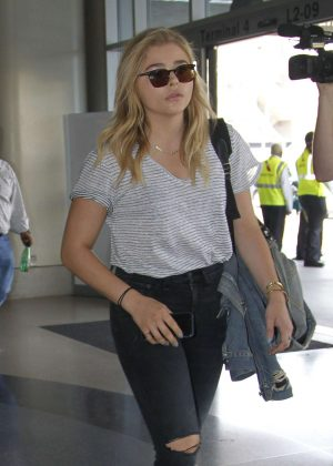 Chloe Moretz in Black Jeans at LAX Airport in Los Angeles