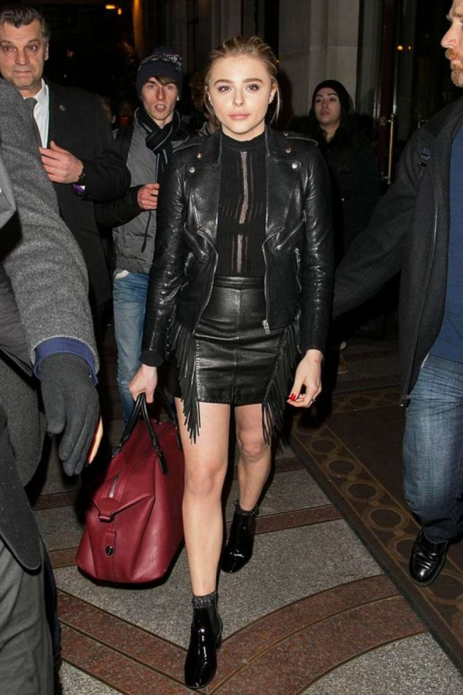 Chloe Moretz in Leather Mini Skirt Night Out in Paris