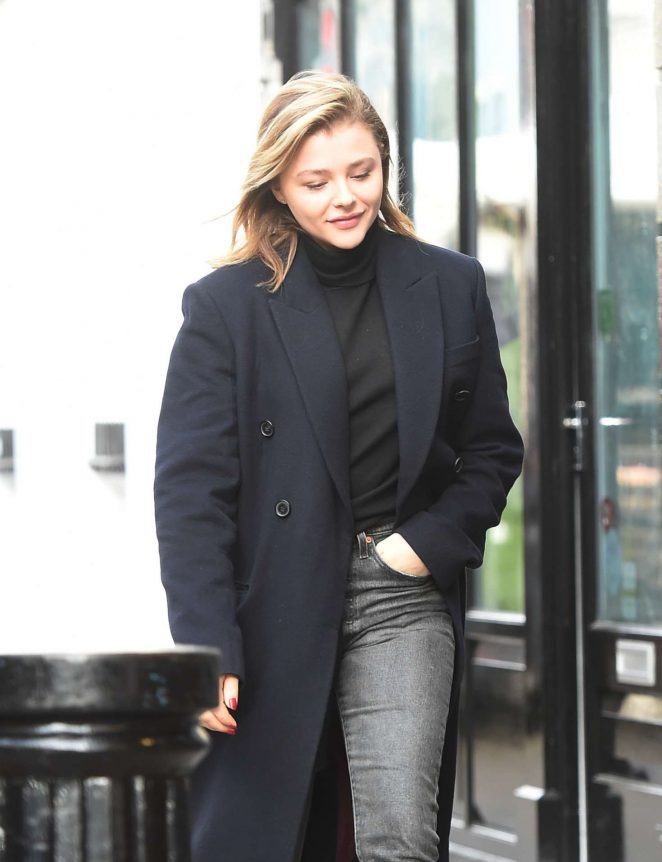 Chloe Moretz in Long Coat and Jeans out in Notting Hill