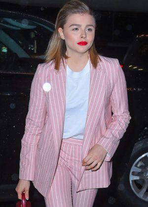 Chloe Moretz in Pink Suit - Out in New York City