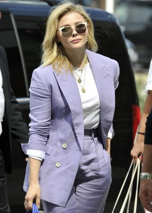 Chloe Moretz in Purple Suit - Arrives in Venice