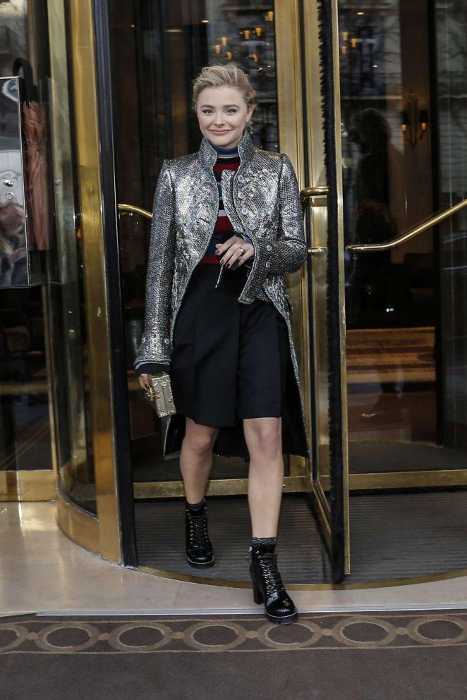 Chloe Moretz - Leaving her hotel in Paris