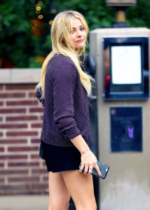 Chloe Moretz in Black Shorts Out in NYC