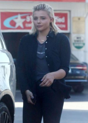 Chloe Moretz pumping gas at a station in Studio City