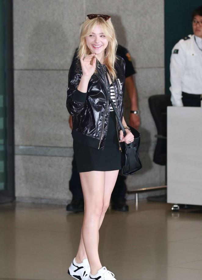 Chloe Moretz in Short Dress at Shopping in Seoul