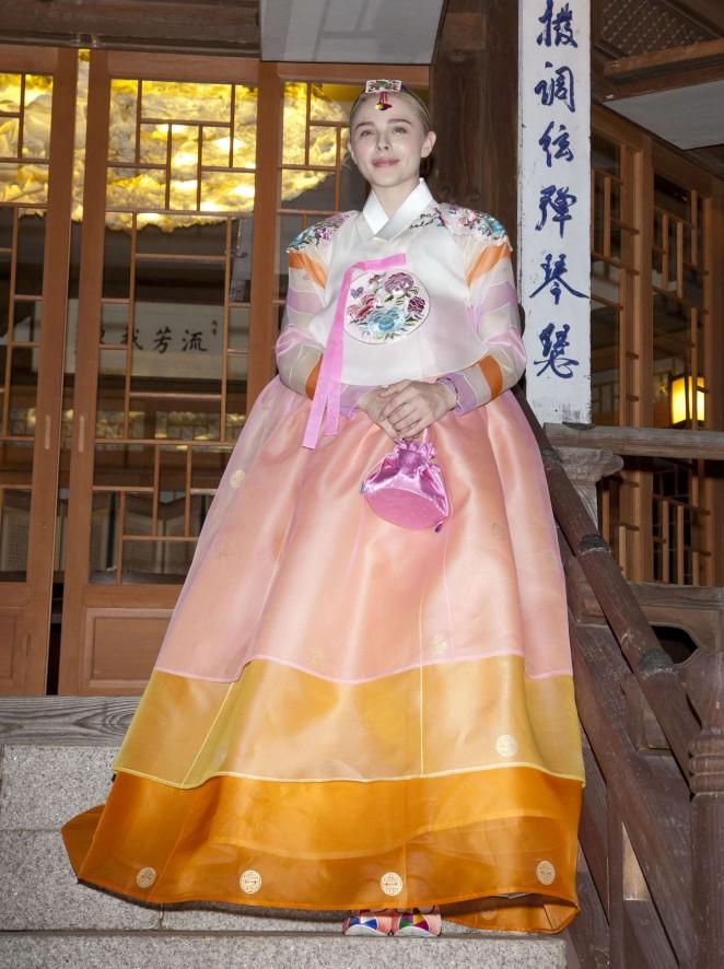 Chloe Moretz - Wearing a Traditional Dress in South Korea