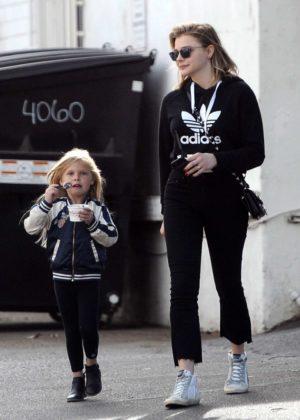 Chloe Moretz with Harper Beckham out in LA