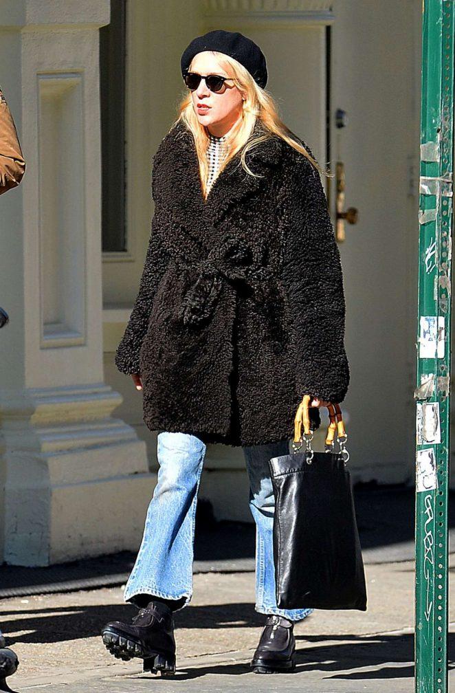 Chloe Sevigny in Black Fur Coat Out in New York