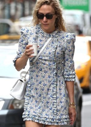Chloe Sevigny in Blue Floral Dress in New York City