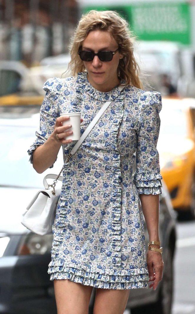 Chloe Sevigny in Blue Floral Dress in New York City