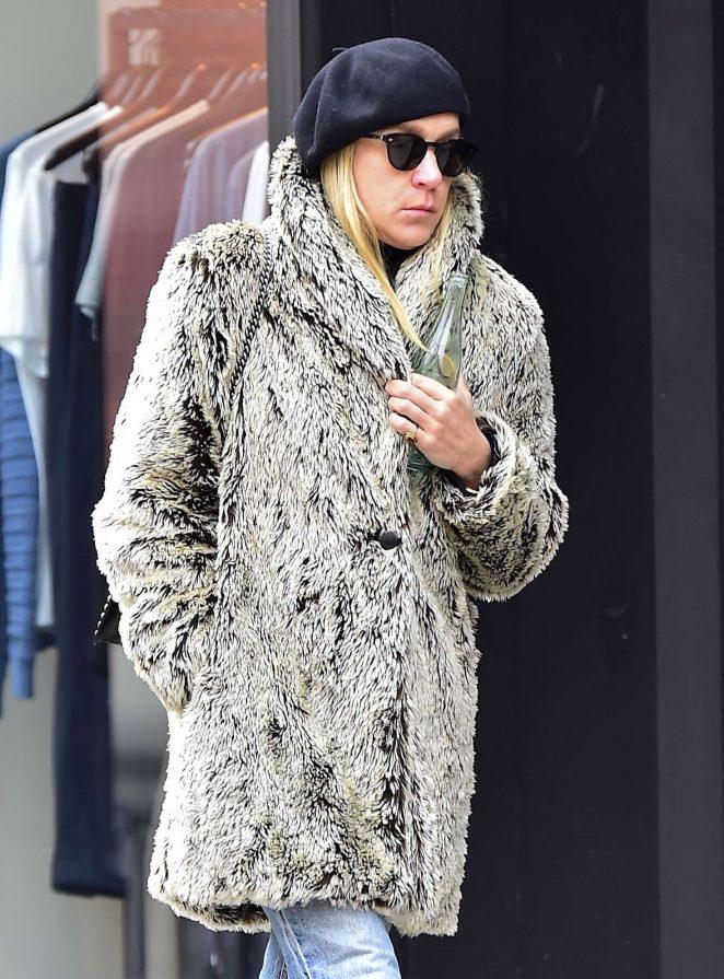 Chloe Sevigny in Fur Coat out in NY